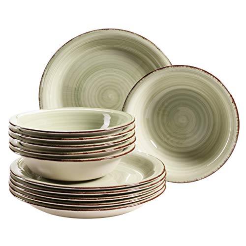MÄSER 931491 Bel Tempo II - Juego de platos para 6 personas (pintados a mano, gres), diseño vintage, color verde