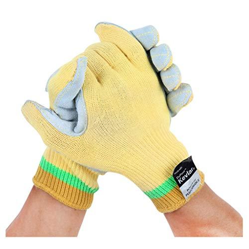 Safety gloves Guanti Anti-graffio in Fibra di Guanti Anti-graffio Guanti Anti-graffio Ad Alta Temperatura (Colore : Giallo, Dimensioni : L.)