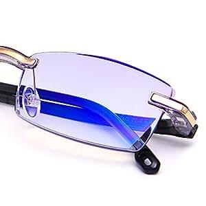 LUFF Reading Glasses Hd Anti-Blue Diamond Cut Edge Frameless Reading Glasses (+1.5)