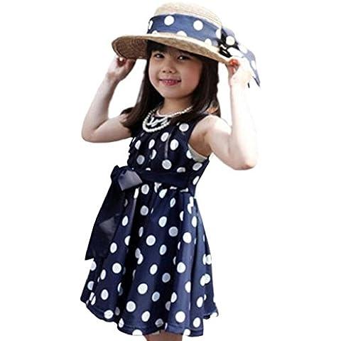Vestido de fiesta de la princesa Koly Lunares Vestido para niñas (120, Azul)