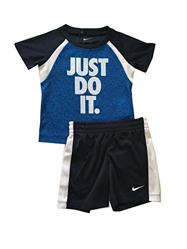 Nike Infant Boys Just Do It 2 Piece Shirt and Shorts Set White/Obsidian Size 12 Months