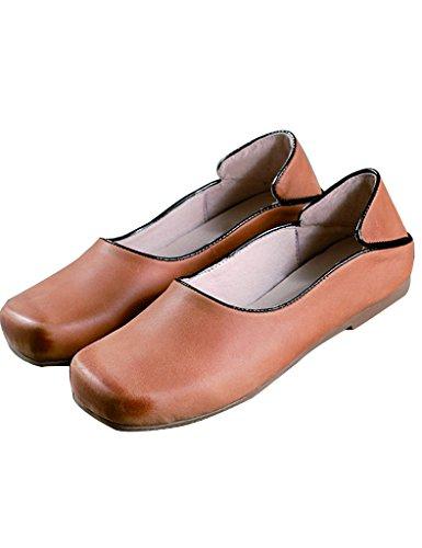 Youlee Femmes Carré Tête Fait Main Cuir Chaussures Marron