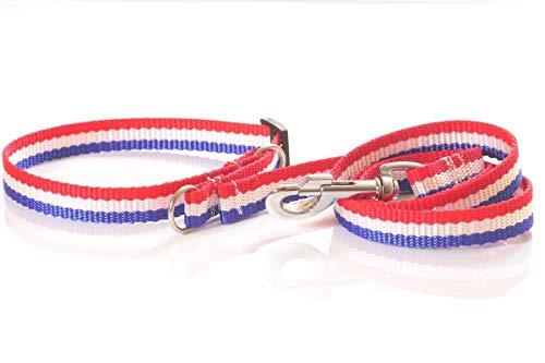 Hundeshop mit Herz Halsband und Leine aus Gurtband, blau-weiß-rot, 20mm breit Zugstop -