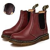 Zkyo Chelsea Boots Damen Herren Kurzschaft Winter Stiefel Warm Gefüttert Ankle Stiefeletten Rutschfeste Worker Boots Größe Rot 43