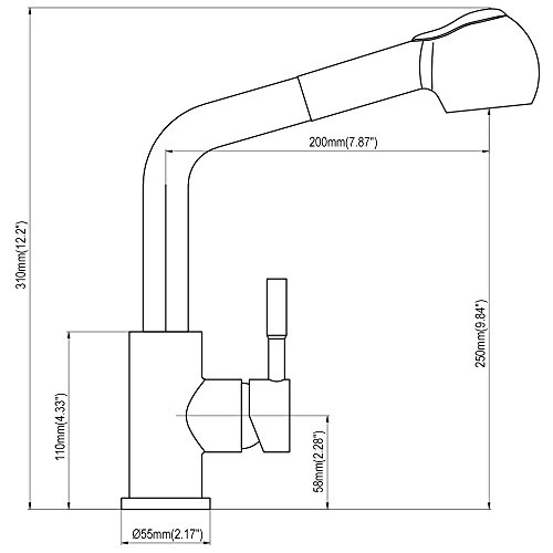 Homelody – herausziehbare Küchenarmatur, 360 Grad drehbar, Chrom - 5