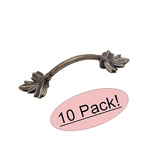 Amerock BP4451-R2 Weathered Brass Nature's Splendor Leaf Cabinet Hardware Handle Pull - 3 Hole Centers - 10 Pack by Amerock