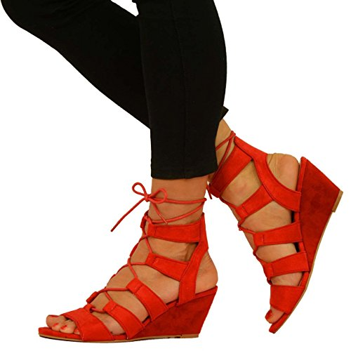 Red Wedge Sandals: Amazon.co.uk