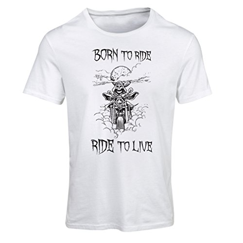 N4690F Frauen T-Shirt Born To Ride! motorcycle clothing (Small Weiß Mehrfarben)