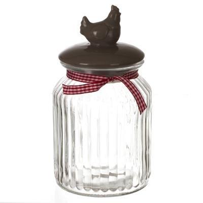 lot-de-2-bonbonniere-en-verre-couvercle-poule-pm-avec-ruban-vichy-pour-candy-bar-bar-a-bonbons