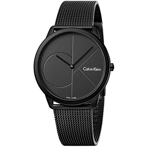 Calvin Klein Minimal k3m514b1Quartz Watch (Rechargeable) quandrante Black Strap Stainless Steel