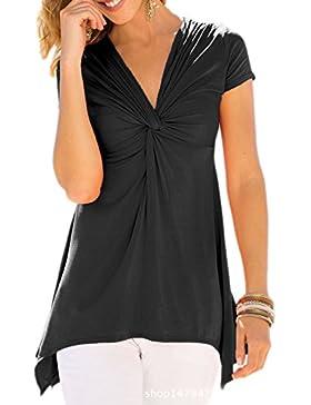 Vepodrau Mujeres Top Camiseta Cuello En V Plisado Fruncido Irregular Sobrepelliz Blusas