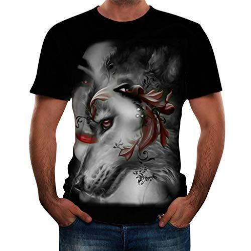 Tyoby Herren Sommer T-Shirt Druken 3D Hipster Kurzärmliges T-Shirt Zeitgenössisch Herrenbekleidung(Gelb,XXL)