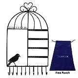 JJOnlinestore–Vogelkäfig Design Wandhalterung Jewelry Kleiderbügel zum Aufhängen Shabby Chic Ohrring Halskette Schmuck Display Organizer Ständer Rack weiß