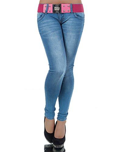 L907 Damen Jeans Hose Hüfthose Damenjeans Hüftjeans Röhrenjeans Röhrenhose Röhre, Farben:Blau;Größen:38 (M)