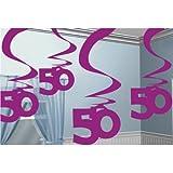 Età 50 Decorazioni ricciolo rosa (pacchetto di 5)