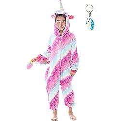 Landove Pijama Unicornio Niña Niño Mono Franela Kigurumi Animales Entero Unisex Sleepsuit Romper Homewear Onesie Cosplay Traje de Disfraz para Festival Carnaval Halloween Navidad Regalos ...