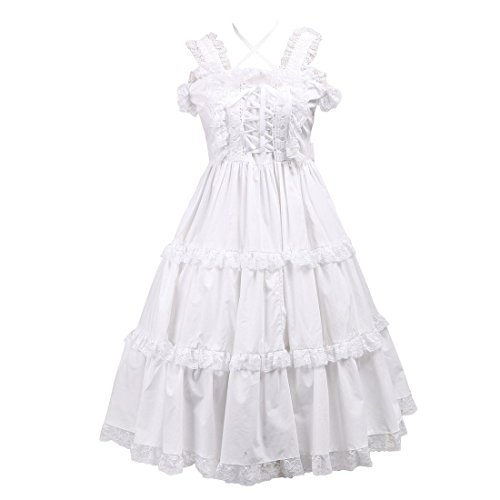 Partiss Damen Lace Ruffles Halter Vintage Victorian Lolita Dress,L,White (Victorian Brautkleid Lace)