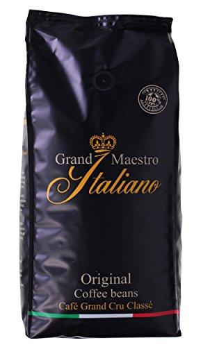 Kaffee Grand Maestro Italiano Original | Geröstete Arabica Kaffeebohnen für Kaffeevollautomaten | 1kg ganze Bohnen | Feiner und intensiver Geschmack