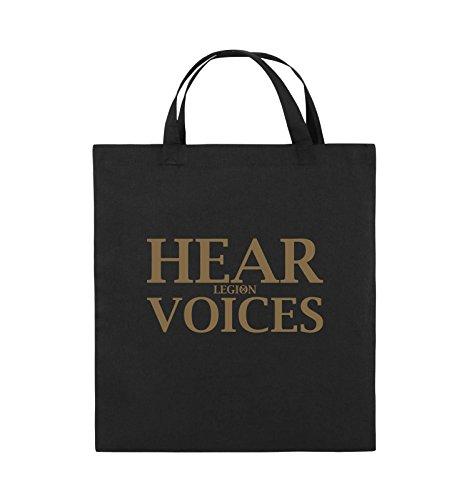 Comedy Bags - HEAR VOICES - LEGION - Jutebeutel - kurze Henkel - 38x42cm - Farbe: Schwarz / Pink Schwarz / Hellbraun