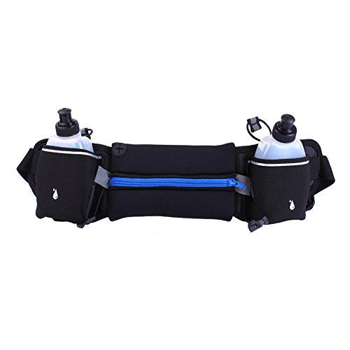Sport marsupio/2Water Bottle Holder marsupio/iPhone 7Plus sport/grande capacità impermeabile cintura esterna con due tasche ultra-thick Lycra traspirante Blue with Kettle