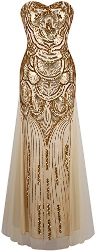Kostüm Dress Golden - Angel-fashions Damen Paillette Tragerlos Schatz Gitter Schnuren Bankett-Kleid Small Gold