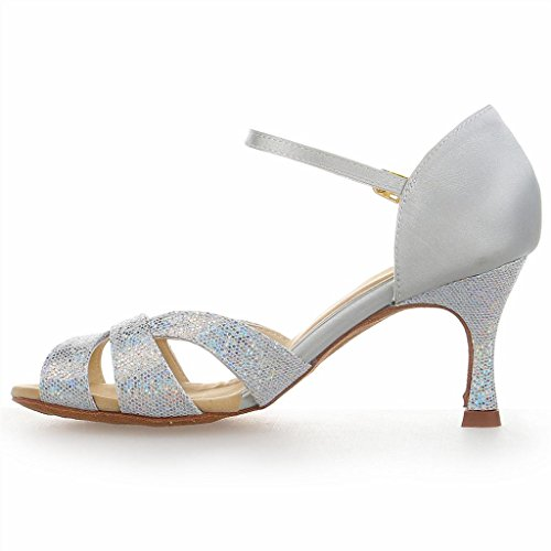 Jia Jia Y2054 Chaussures de danse latine satin silver