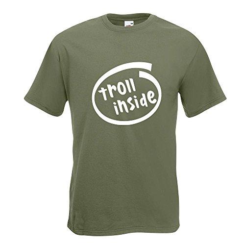 KIWISTAR - troll inside T-Shirt in 15 verschiedenen Farben - Herren Funshirt bedruckt Design Sprüche Spruch Motive Oberteil Baumwolle Print Größe S M L XL XXL Olive