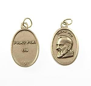 Padre Pio catholique pendentif médaille - argent 2cm couleur métallique