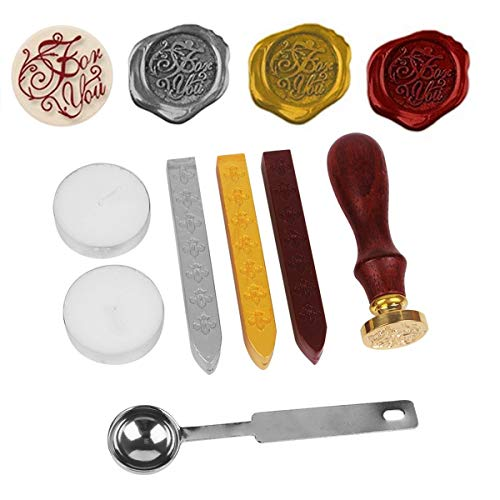 Stamp Seal Dichtung Wachs Retro, klassische, NetBoat Antik Wachs-Siegel-Stempel Kit Set mit Gold Rot Silber haftet kreative Stempelproduktion Suite (For You)