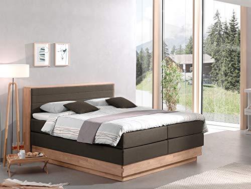 moebel-eins MENOTA Boxspringbett mit Bettkasten, massivem Holzrahmen und Stoffbezug, 180 x 200 cm, Espresso, Härtegrad 2