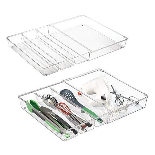 mDesign Juego de 2 organizadores de cajones para utensilios de cocina - Cubertero extensible para cucharas de madera y más - Separadores de cajones adaptables con 3 a 4 divisiones - transparente