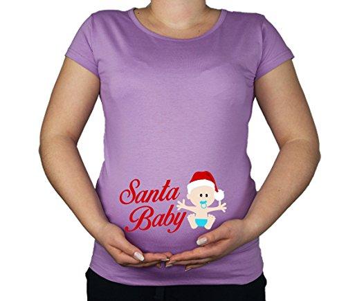 Grossesse taille 10–20coton Père Noël Imprimé Top Tunique T-shirt pour bébé Violet