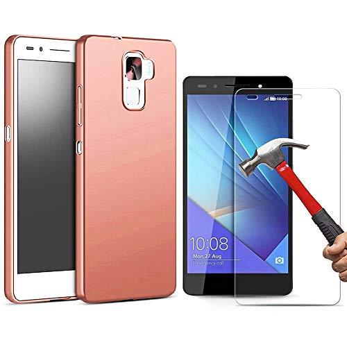 E.F.Connection Coque Huawei Honor 7 Silicone, Housse PC Matière Mat avec [Plein Ecran en Verre Trempé Protecteur] [Ultra résistante] Anti-Rayures Anti-dérapante Case Coque Housse Cover - Rose