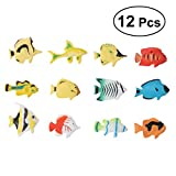 TOYMYTOY 12pcs Ocean Animal Tropical Fish Figure Model Niños preescolares Juguetes educativos