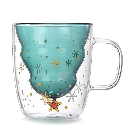 Mouwa Weihnachtsbaum Stern-Becher, 3D-Transparent Doppel Antiverbrühschutz Glas Kaffeetasse Wichteln Frauen Mama Geschenk Der Kinder