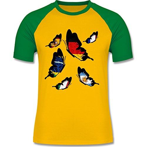 Länder - WM 2014 Länder Schmetterlinge - zweifarbiges Baseballshirt für Männer Gelb/Grün