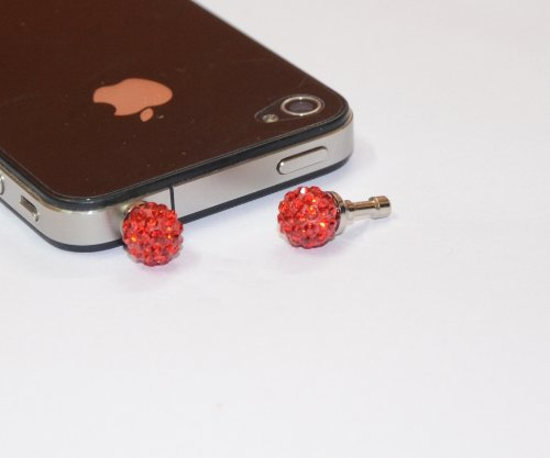 DNG Crystal Ball Anti Dust Plug For Mobile Phones Iphone Charms Bling 3.5mm Earphone Red