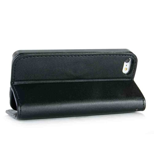 Apple iPhone 5 / 5s Handyhülle inklusive Displayfolie BRAUN schwarzes Etui