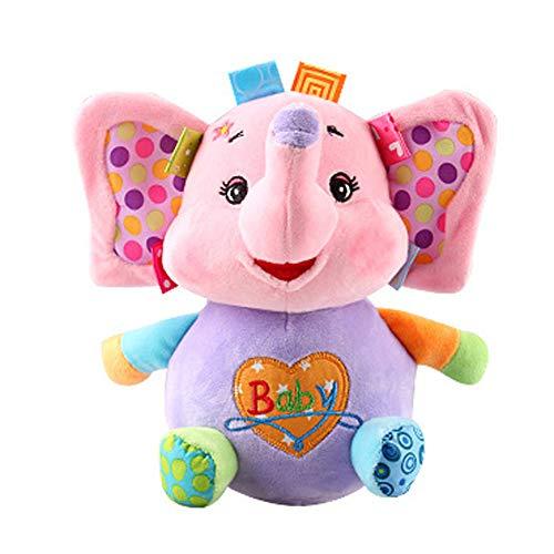 Stehauffigur Baby und Kleinkind Spielzeug Stehaufmännchen Motorikspielzeug aus weichem Plüsch mit lustigem Klingel- und Wackel-effekt Plüschtier Spielzeug für Babys ab 6 Monaten, Rosa Elefant