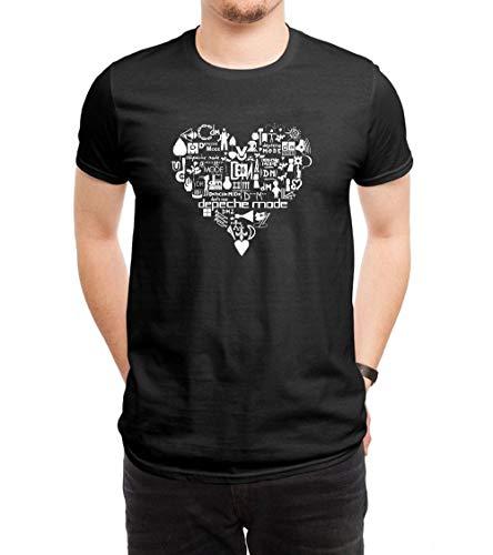 HUANGHUIH Hombre Heart Depeche Mode Logo Cotton Print...