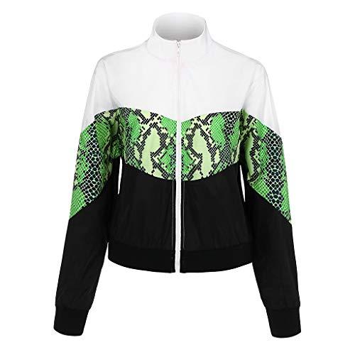 TOPGKD Hoodie Damen Langarm Cut Sew Panel Schlange Kapuzenpullover mit Zipper Herbst Winter Winddicht Sweatshirt Bluse Tops (Weiß, L) -