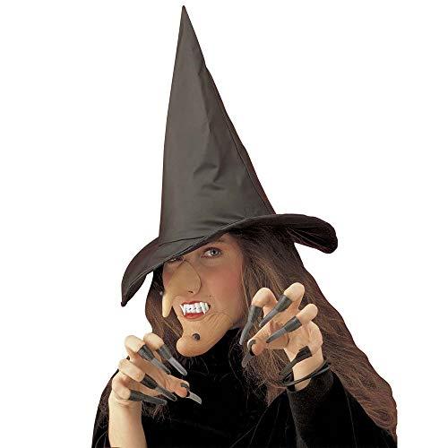 Widmann 2846R - Hexenset mit Hut, Nase, Kinn, Gebiss und Fingernägel, Einheitsgröße (Fingernägel Halloween Ideen)