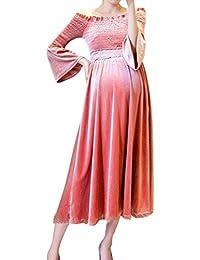 Beikoard Vestido de Mujer de Terciopelo de Oro Embarazada, una Palabra Vestido de Maternidad Hombro