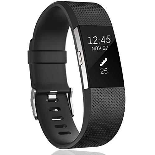 HUMENN Correa para Fitbit Charge 2, Edición Especial Deportes Recambio de Pulseras Ajustable Accesorios para Fitbit Charge2, Grande Negro