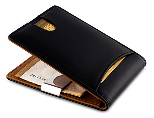 Kreditkartenetui mit Geldklammer und RFID Schutz / Leder Geldbörse Herren Klein / Portemonnaie mit Klammer - Ohne Münzfach, Braun