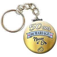 Porte Clés Chaînette 3,8 centimètres 50 Ans de Mariage Noces d' or Idée Cadeau Accessoire Accessoire Anniversaire…