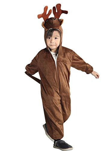 Elch-Kostüm, An74 Gr. 110-116, für Kinder Hirsch Rentier Hirsch-Kostüme Elch-Kostüme Rentier-Kostüme für Fasching Karneval, Klein-Kinder Karnevalskostüme, Kinder-Faschingskostüme, Geburtstags-Geschenk (Kind Hirsch Kostüm)