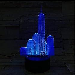 World Trade Center USB-3D LED, Nachtlicht 7 Farbe Dekoration Berühmte Kinder Babygeschenke, Leuchten Architektur Neon Nachttisch,Weiß