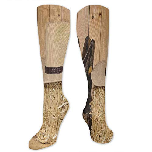 Unisex Highly Elastic Comfortable Knee High Length Tube Socks,Mystery Dark Skin Girl With Headdress Eye To Eye With Huge Snake,Compression Socks Boost Stamina,Cream Brown -