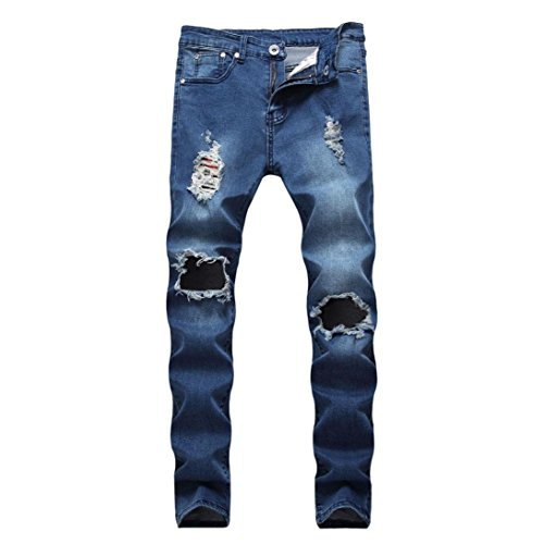 0663ab815c Pantalones Hombres Vaqueros Originales Rotos Casuales Motocicleta ...